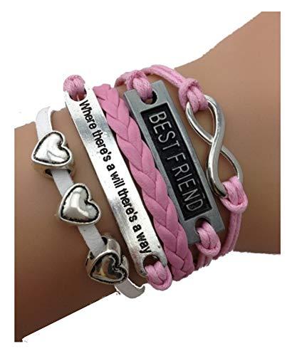Imagen de strass & paillettes pulsera best friend rosa 3 corazones. citación y enlace infinito plateado. mejor amiga alternativa