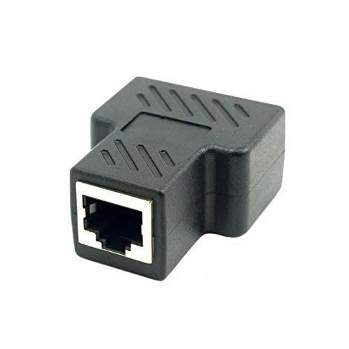 Goliton® Cat6 RJ45 8P8C Stecker auf Dual Doppel RJ45 Splitter Netzwerk Ethernet Patchkabel Adapter – Schwarz - 2