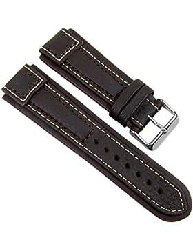 BirkenstockTerrasco Ersatzband Uhrenarmband Kalbsleder mit Kontrastnaht Dunkelbraun 20590S, Stegbreite:22mm