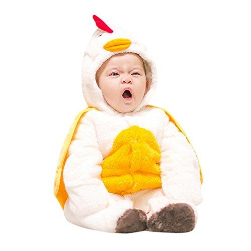 URSING Kleinkind Baby Jungen Mädchen Dick Warm Karikatur Tier Kapuzenpullover Strampelhöschen Neugeborenen Weich Strampelanzug mit Hütte Outfit Strampler Modisch übergang Overall (9M, Weiß#)
