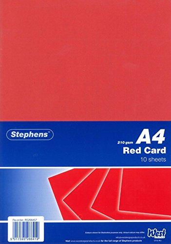 Stephens RS266457 Fotokarton - 10 Bogen Hochwertiger, fester Fotokarton für professionelle Projekte, 210 g/m2, rot