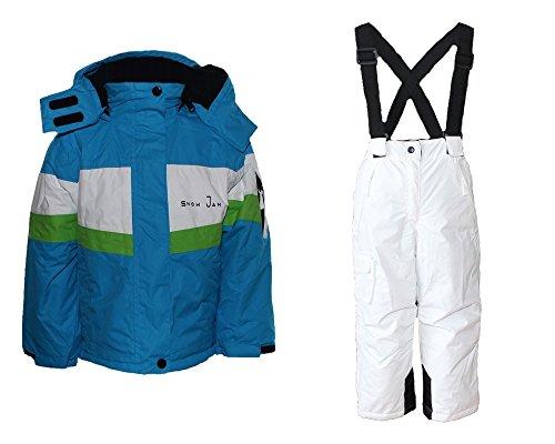 Mädchen Skianzug Skihose Skijacke Snowboardhose Snowboardjackre Schneehose Türkis/Weiß 134/140