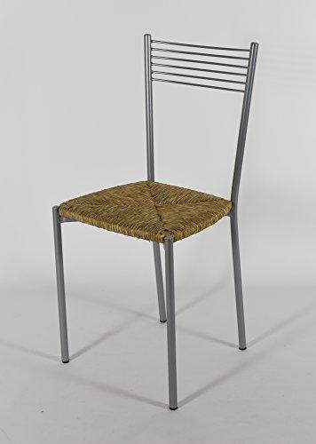 Tommychairs - Set 4 sedie Design Elegance Moderne per Cucina Bar e ristoranti, con Robusta Struttura in Acciaio Verniciato Alluminio e Seduta in Paglia Vera