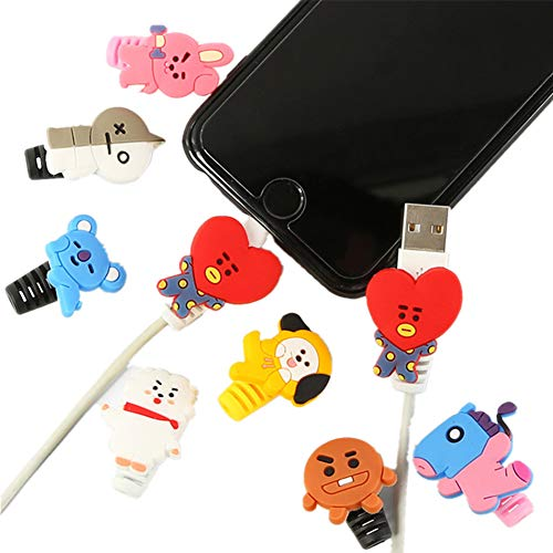 Christ For Givek Kpop BTS Cute Cartoon Protects Saver Compatible for Cable Bite Cord Data Line Protector Cell Phone Accessories Set( H09-8PCS) Line Protector