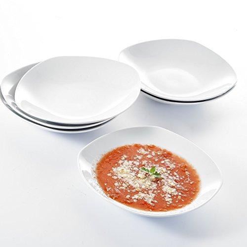 Malacasa, Série ELISA, 6pcs Assiettes à Soupe Plat Carré Assiette Creuse 8.5\\