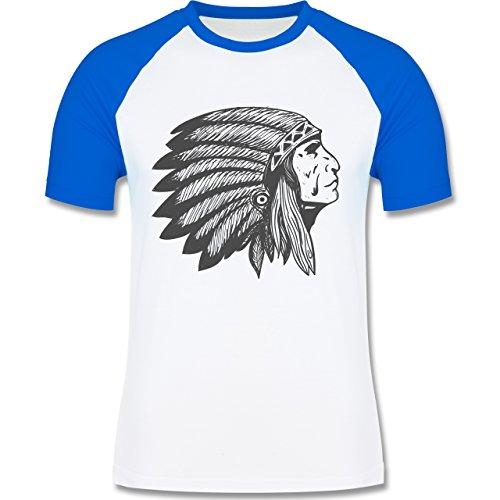 Shirtracer Boheme Look - Indianer Häuptling Handzeichnung - Herren Baseball Shirt Weiß/Royalblau