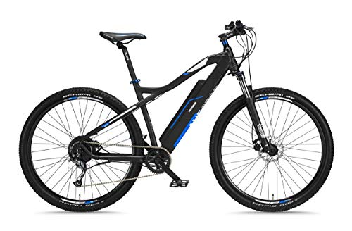 Telefunken E-Bike Mountainbike Elektrofahrrad Alu, 9 Gang Shimano Kettenschaltung - Pedelec MTB 29 Zoll, Hinterradmotor 250W, Scheibenbremsen, Anthrazit/Blau, Aufsteiger M920