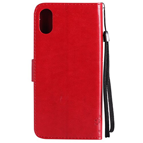 iPhone X Custodia in Pelle, Cover Custodia Per iPhone X, JAWSEU Retro Colore solido [Shock-Absorption][Anti Scratch] Wallet PU Leather Folio Case Cover per iPhone X Custodia Portafoglio con Super Sott Albero e gatti, Rosso