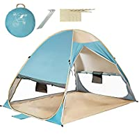 VCOSTORE Automatic Pop Up Beach Tent Instant Portable Sun Shelter with Anti UV,Privacy Protection &Ventilation Design,2-4 Person Tent for Beach Outdoor(Lake Blue)