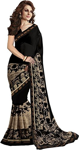 Jaanvi Fashion Georgette Saree (Simple-01_Black)