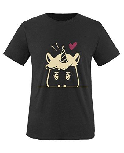 Comedy Shirts - Luscherndes Einhorn - Mädchen T-Shirt - Schwarz / Beige-Fuchsia Gr. 134/146 (Baumwolle Crewneck Reine T-shirt)