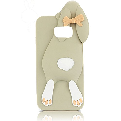 Sunroyal® Samsung Galaxy S6 Edge Plus Cover 3D Lovely Coniglio Custodia in Silicone Foldable Bunny Ear Case Trasparente Rabbit Soft Morbido TPU Bumper Protettiva Cassa con Orecchio Supporto e Cinghia  Grigio