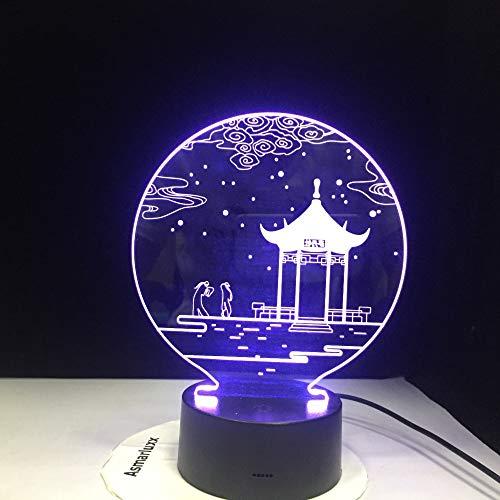 Antico padiglione lampada 3D lampada da tavolo 7 colori sostituzione lampada da tavolo lampada 3d novità led luce notturna padiglione parlamento 5 Nessun contro