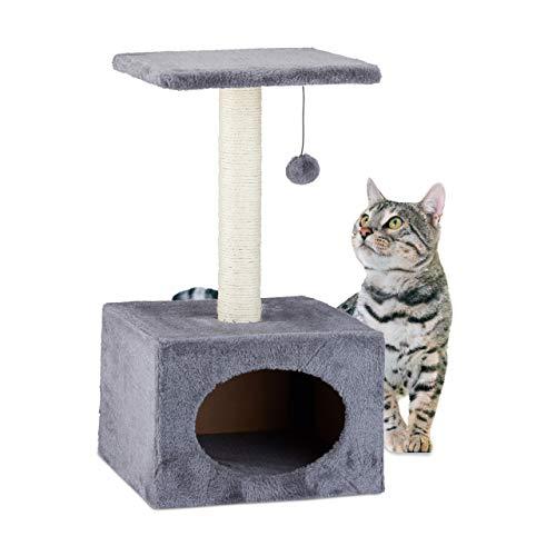 relaxdays 10023924_111 - tiragraffi, albero da arrampicata con gattino, asta in sisal e pallina da gioco, rivestimento in peluche, hbt 56 x 31 x 31 cm, grigio