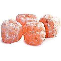 GEOFOSSILS - Portavelas de Sal - 4 Unidades - color Rosa Natural.