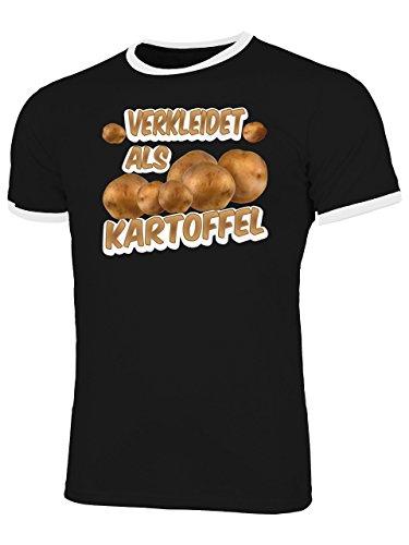 Als Kartoffel 5234 Herren Ringer T-Shirt (HR=Schwarz/Weiss) Gr. XL (Kartoffel-halloween-kostüm)