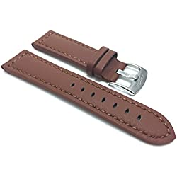 28mm Tan Racer with Stitching, Genuine Leather Watch Strap Band, with Stainless Steel Buckle, NEW!