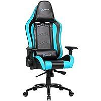 Newskill Takamikura Carbon - Silla gaming profesional (Piel efecto carbono, inclinación y altura regulable, reposabrazos ajustables, reclinable 180º), Color Azul