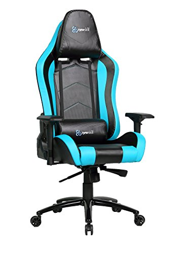 Newskill Takamikura Carbon - Silla gaming profesional (Piel efecto carbono, inclinación y altura regulable, reposabrazos ajustables, reclinable 180º), Color Azul