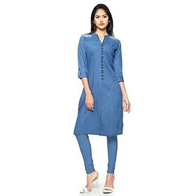 Kvsfab Women's Denim Kurta(Indowestern Party Wear_Blue)