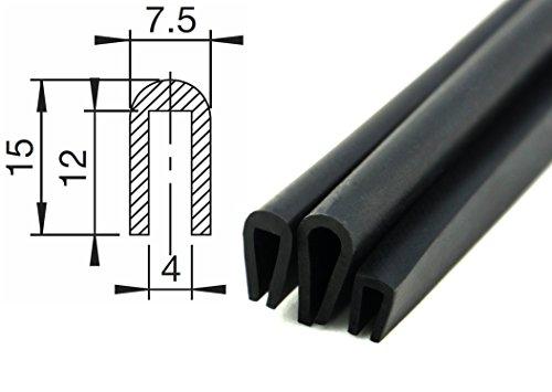 V3 - Fassungsprofil von SMI-Kantenschutzprofi aus EPDM-Zellkautschuk - Kantenschutz für Scheiben, Fenster, Blech u. v. m. - einfache Montage - Maße: 15x7,5mm - Fassungsbereich 4mm (3 m)