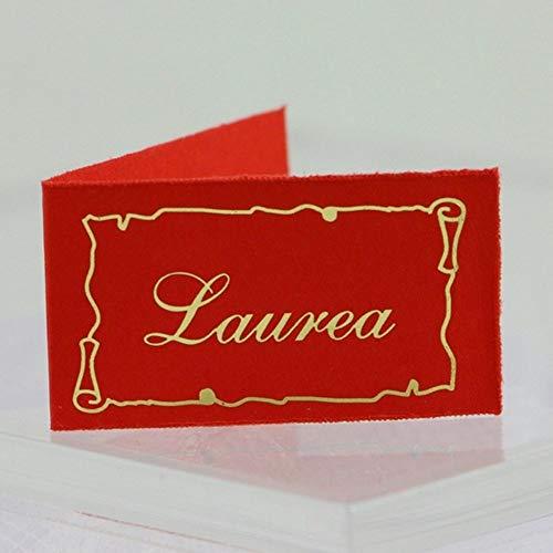 Diari di vita 40 bigliettini bomboniera laurea con pergamena e scritta oro su sfondo rosso