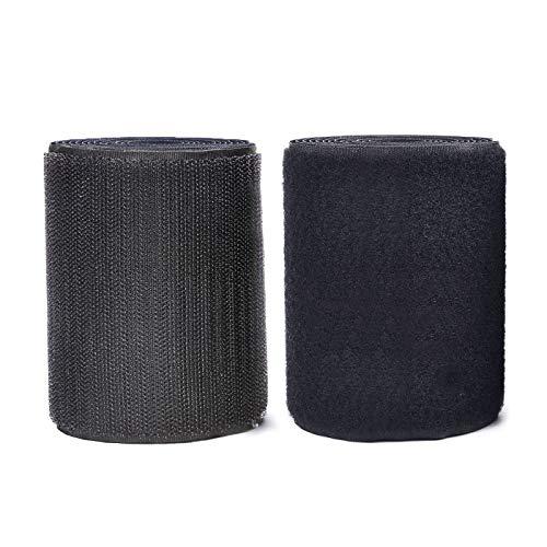 MARCHONE 11CM (4.3 inch) Zoll Klettband breit 2 Meter lang Kein Klebstoff Klettverschluss zum Nähen Klettband für Fliegengitter, Schwarz