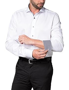 Eterna Hemd Modern Fit Kontrastknöpfe weiß extra langer 68cm Arm