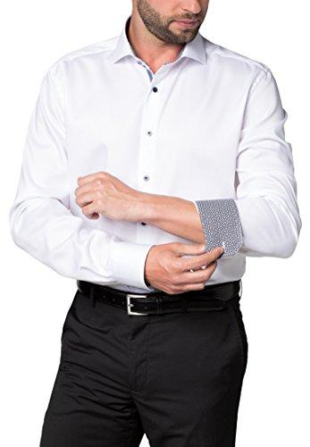 ETERNA long sleeve Shirt MODERN FIT Barré fabric structured Bianco