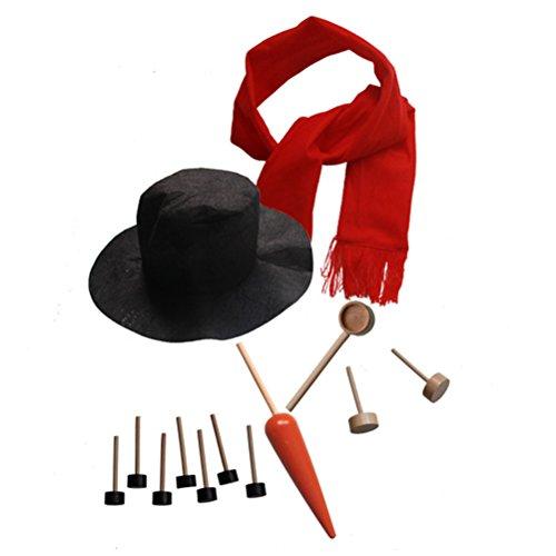 Tinksky Schneemann Making Kits Werkzeuge Schneemann Dekorieren Kit Winter Urlaub Outdoor Spielzeug Weihnachten Geschenk mit Hut Schal Pipe Augen Mund Button Nase 13pcs