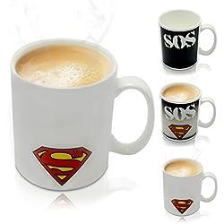 Grinscard - Taza sensible al calor con efecto térmico animado - Superman - 0.3l - para café, té, cacao, leche, agua, etc.