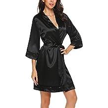 d2085b12a5bc UNibelle Donna Vestaglia e Kimono Raso Scollo a V Manica a 3 4 Camicia da
