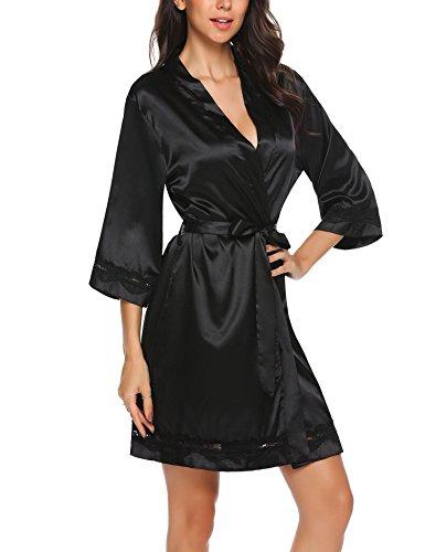 Unibelle Kimono Damen Morgenmantel Satin Kurz Bademantel Seide Roben Nachthemd V Ausschnitt Mit Blumenspitze Schwarz-M