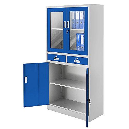 Blauer Stahlschrank – Stahlschrank mit Glastüren 185 cm - 2
