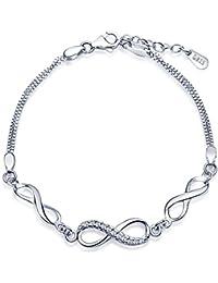 Unendlich U Klassisch Infinity Unendlichkeit Symbol Damen Armband 925 Sterling Silber Zirkonia Armkette Verstellbar Charm Armreif, Silber