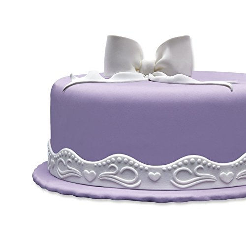 Cake Company Fondantrand | Fondant Bordüre in 2x 1,25 m & 3 cm hoch | 1 Stück | Fondant Band in Weiß | Tortenband mit Wellenband Herzen |...