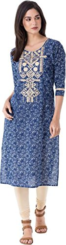 M&D Women's Cotton 3/4 Sleeve Embroidered Kurti(Indigo Blue)