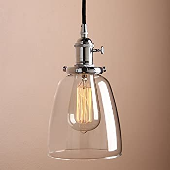 Pathson 14cm vintage modern clear glass bell shade retro industrial edison hanging pendant ceiling light fixture loft bar kitchen island chandelier e27