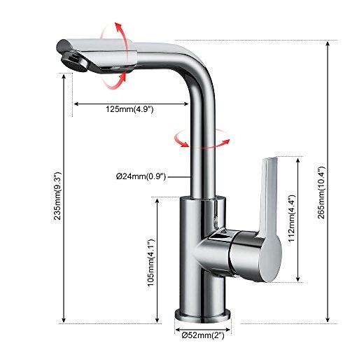 Homelody – Waschtisch-Einhebelmischer, ohne Ablaufgarnitur, doppelter Schwenkauslauf 360°, Chrom - 7