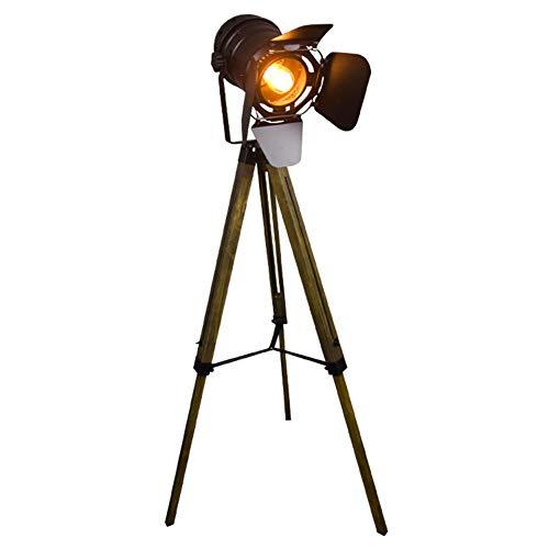 Stehlampe Dreibein Stativ Nautische Teatre Scheinwerfer Industrial Dekor Holz Stehleuchten Kino Requisiten (Ohne Edison Glühbirnen) ()