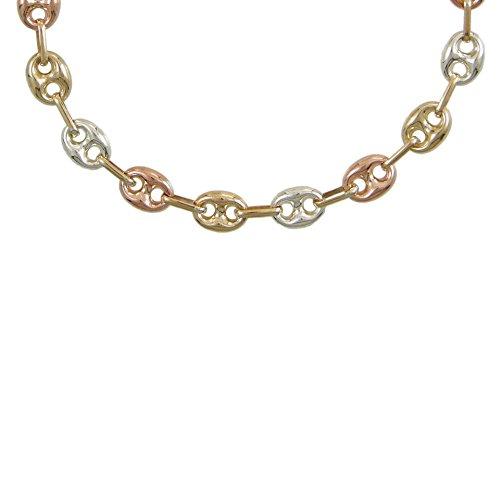 Damen-Halskette Echtgold–Kaffeebohnen TRICOLORES gelb, weiß und rosa
