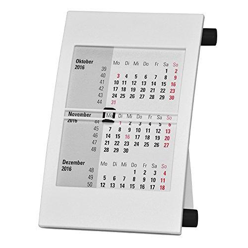 Truento 3-Monats-Tischkalender für 2 Jahre (2018 & 2019) - mit Drehmechanik - weiß/schwarz