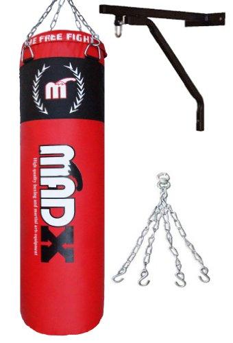 MADX - Saco de boxeo con soporte y cadenas (1,2 m), color rojo y negro