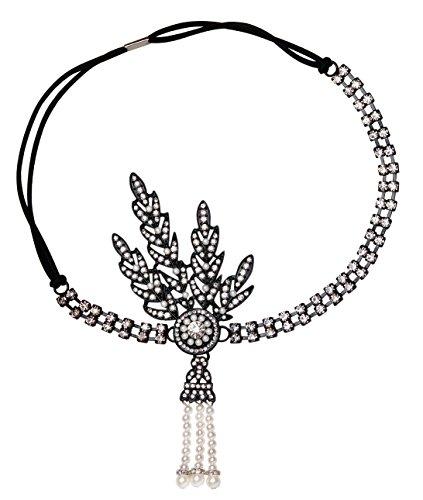Babeyond® Damen Stirnband Art Deco 1920 Stil Flapper Stirnband Great Gatsby Accessoires Haarband Blatt Medaillon Perle Kopfstück Stirnband (Schwarz)