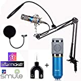 StudioStar Professional Condenser Studio Recording Microphone with Stand (Dynamic Blue) (Blue)