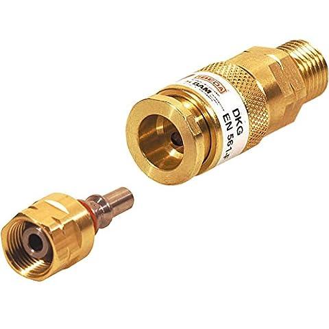 Ibeda DKG Gas-Schnellkupplung mit Außengewinde im SET mit D1 Kupplungsstift mit Überwurfmutter für Brenngas G3/8 LH, Sauerstoff 1/4 RH, Inertgas G 1/4' RH, Ausführung:Inertes Gas G 1/4'' (Rh Außengewinde)