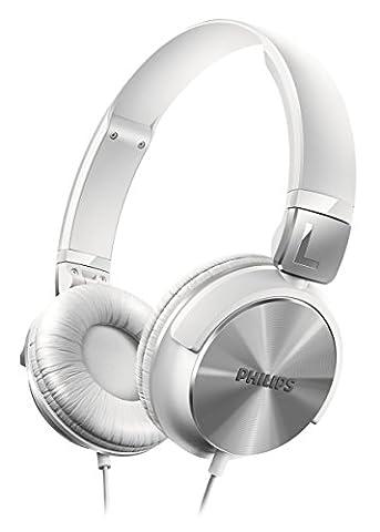Philips SHL3160WT Casque audio filaire pliable à plat, léger, basses profondes, Blanc