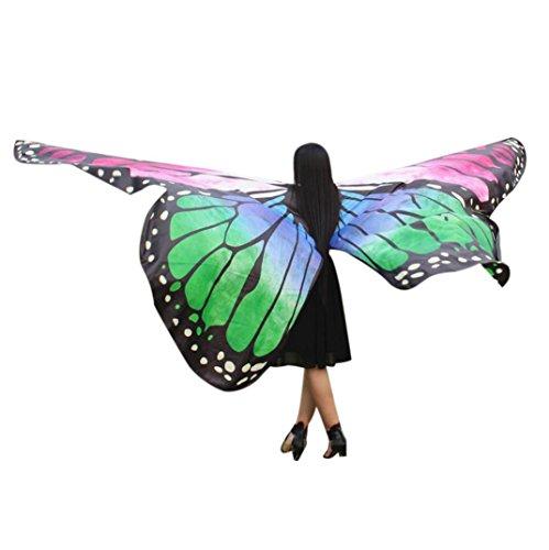 Neuheit-hosen-anzug (Manadlian Frau Neuheit Drucken Chiffon Schmetterling Flügel Kap Daman Schal Pfau Poncho Schal Wickeln (Freie Größe, Grün))