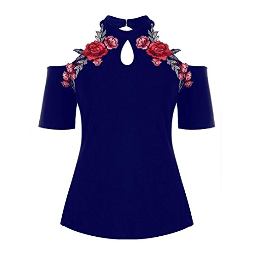 TUDUZ Damen Oberteile Elegant Groß Größe Rose Stickerei Floral Tank Tops Bluse Camisole Basic Shirt Tunika Top (X-Blau, XL)