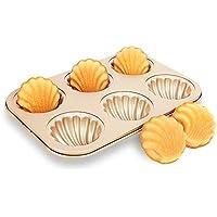 Molde para Hornear Antiadherente Oro 6 Piezas Patrón De Taza Profundo Tridimensional Japonesa Madeleine Shell Pastel
